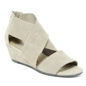 EILEEN FISHER Kes Perforated Nubuck Wedge Sandals